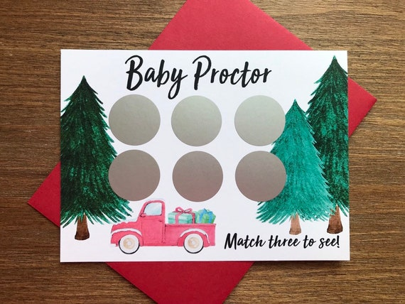 Christmas Gender Reveal Ideas.Christmas Gender Reveal Game Scratch Off Cards Truck And Presents Christmas Trees Pregnancy Announcement Gender Reveal Ideas