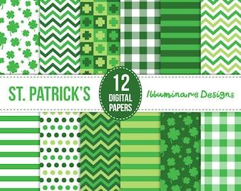 SALE St Patricks Day Digital Paper: Green Shamrock Digital Scrapbooking Paper, St Pattys Day Seamless Patterns - Instant Download