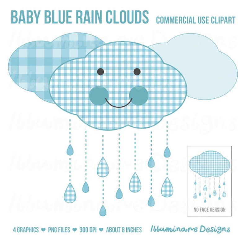 Blue Rain Clouds Clip Art Baby Shower Clipart Baby Boy Blue Gingham Cloud Royalty Free Commercial Use Ok Instant Download
