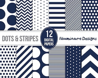Navy Digital Paper: Navy Blue Digital Scrapbooking Paper - Polka Dots and Stripes Seamless Patterns and Backgrounds - Commercial Use Ok