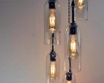 Recycled Wine Bottle Pendant Chandelier - Spiral chandelier, Circular Light Fixture, Bar Lighting