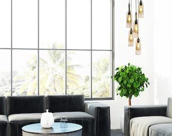 5 Wine Bottle Pendant Chandelier - Spiral chandelier, Circular Light Fixture, Kitchen Lighting
