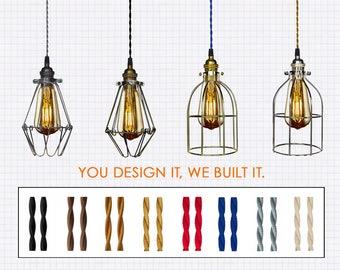 Industrial Cage Pendant Light - Custom Pendant Light, Single Pendant, Kitchen Lighting