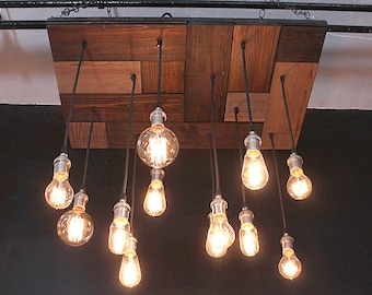 Mosaic Reclaimed Wood Chandelier With Edison Bulbs For Your man Cave