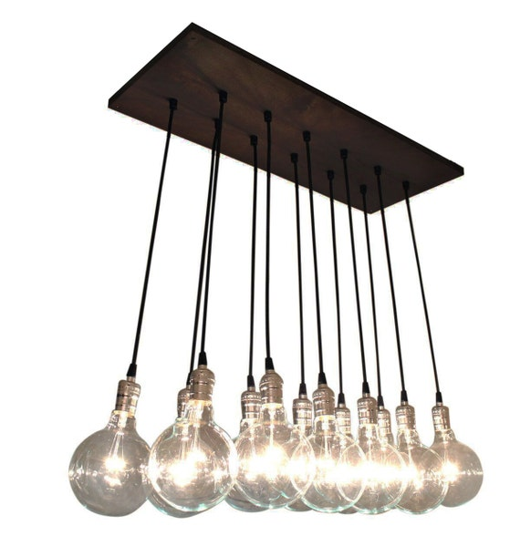 urban chic chandelier with exposed bulbs kitchen lighting | etsy