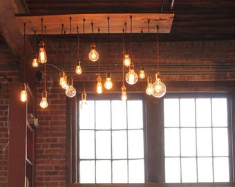 Nostalgic Reclaimed Wood Chandelier Dining Room Chandelier With Varying Edison Bulbs