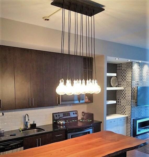 Modern Kitchen Island Chandelier - Exposed Bulb Lighting, Modern Kitchen  Light, Dining Chandelier, Dining Room Lighting, Edison Bulb Light