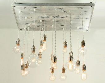 Cottage Chic Chandelier - Shabby Chic Chandelier, Vinatge Whitewashed Chandelier with Nostalgic Edison Bulbs, Bare Bulb Chandelier