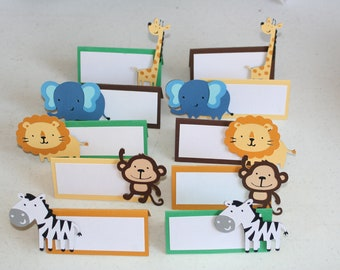 12  Jungle or Safari Animal Place Cards Food Cards Labels, zoo birthday, food cards, food labels, safari party