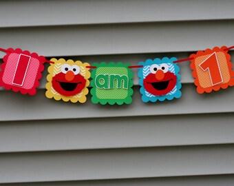 Elmo Banner, Elmo I am 1 Banner, Elmo Highchair Banner,  Elmo Birthday Party, Elmo First Birthday, Elmo 1st Birthday