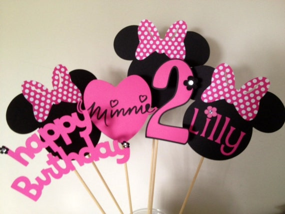 6 Piece Minnie Mouse Inspired Centerpiece Set Minnie Centerpiece