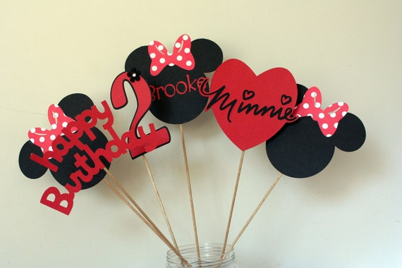 6 Piece Minnie Mouse Centerpiece Red White And Black Minnie Etsy