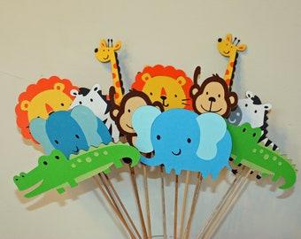 Jungle zoo circus safari table decorations set of 24 jungle - Deco table jungle ...