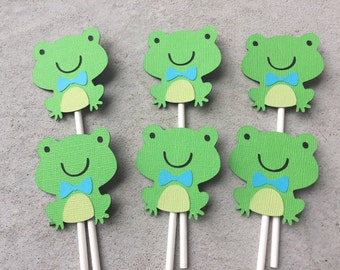 12 Frog Cupcake toppers, Frog Cupcake decorations, Frog Birthday Decorations, Frog toppers, Frog Birthday party, Frog Party, Frog Cake Decor