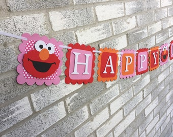 Girly Elmo Pink and Red Happy Birthday Banner, Elmo Banner, Elmo Birthday Banner, Elmo Birthday Decorations, Pink Elmo Party Decorations,