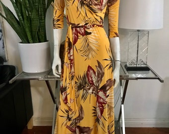 STELLA Wrap Style Dress in Mustard Yellow with Palm Leaf Print