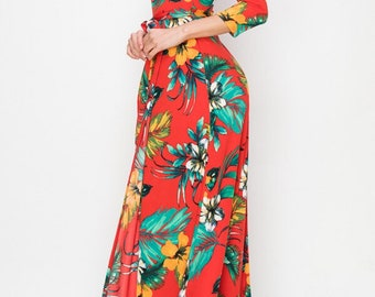 STELLA Wrap Style Dress in Red with Tropical Print