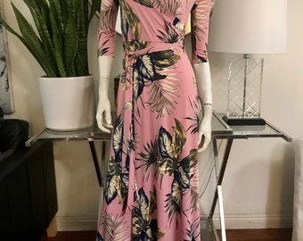 STELLA Wrap Style Dress in Pink with Palm Leaf Print
