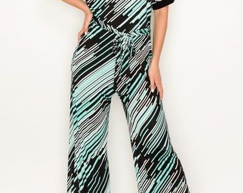 MADISON 1970s Style Jumpsuit / Jumper in Teal and Black