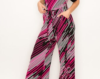 MADISON 1970s Style Jumpsuit / Jumper in Pink and Black
