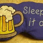 Embroidered Eye Mask, Sleeping, Cute Sleep Mask, Adults, Sleep Blindfold, Slumber Mask, Beer, Eye Shade, Travel, Handmade