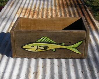 Box Original Green Fish Painting Rustic Office Dorm Decor Fishing Loge  Storage Reclaimed Barn Wood Box Primitive Folk Art Funky Fish Artwork
