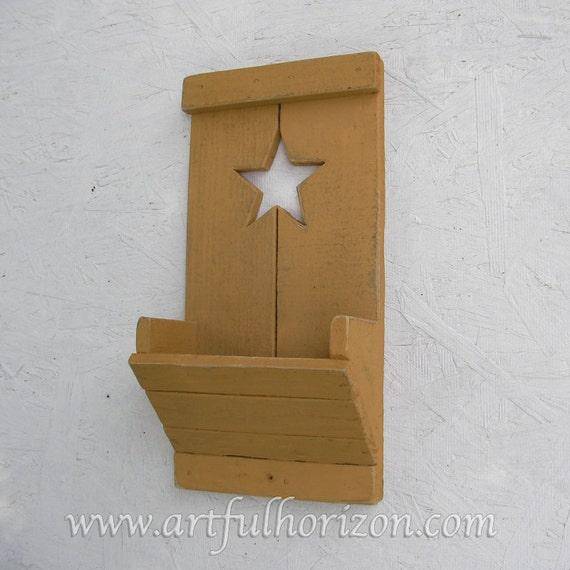 Primitive Folk Art Star Yellow Ochre Wood Wall Box Pocket  c5a7ebec3