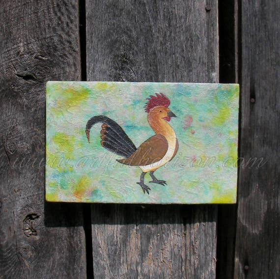 Hand Painted Folk Art Chicken Art Rooster Purple Yellow