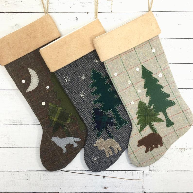 Personalized Christmas Stockings Rustic Christmas Stocking Family Stockings Cabin Stocking Bear Wolf Moose Stocking Christmas Decoration