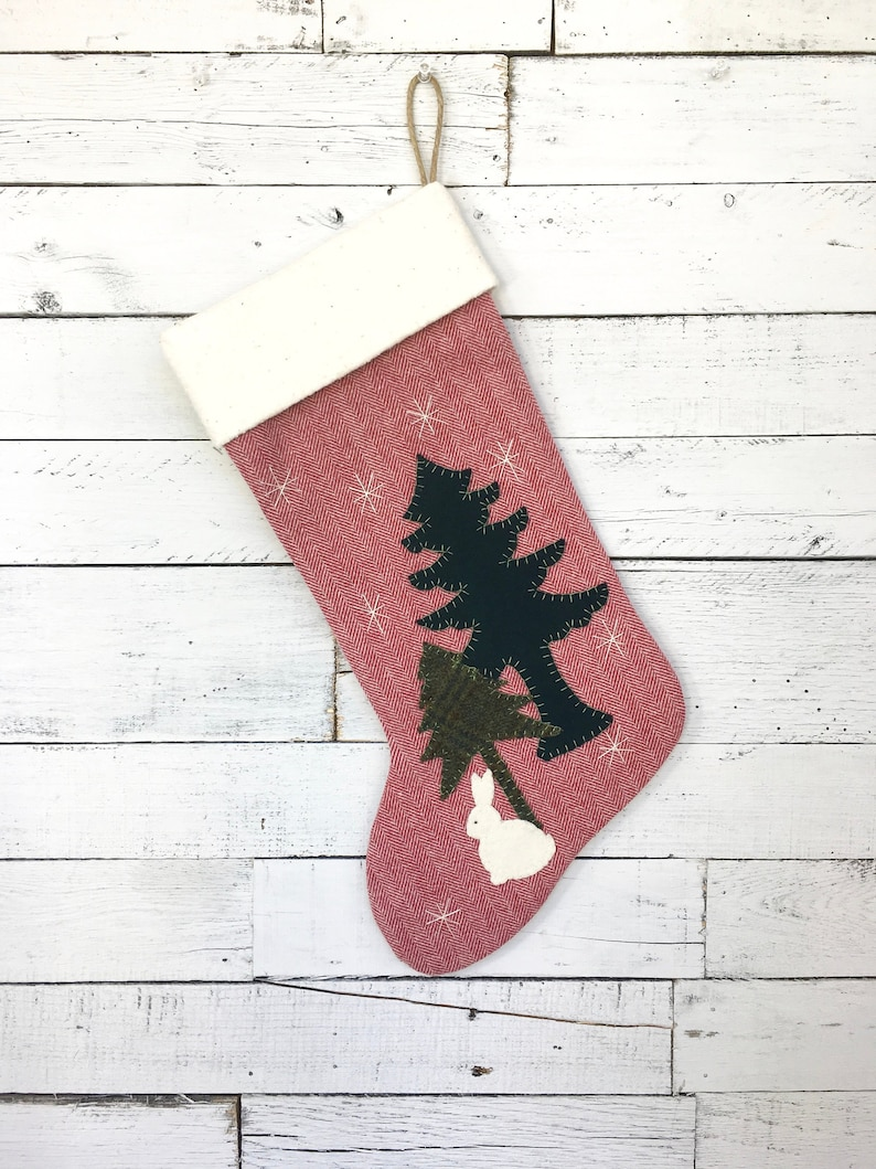 Personalized Christmas Stocking Family Christmas Stockings Rustic Christmas Stocking Bunny Christmas Stocking Woodland Christmas