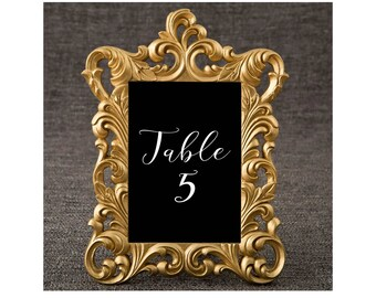 25 Gold Vintage Baroque Table Number Photo Frame Wedding Shower Party Favors