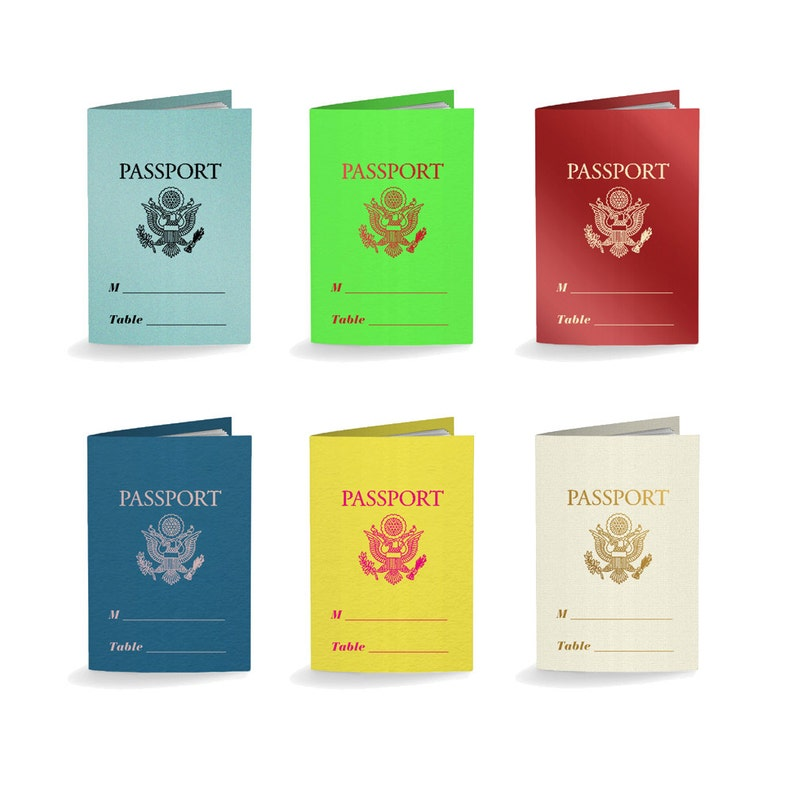 Choose Your Colors Passport Place Cards Escort Cards Wedding Favors Party Favors Foil Stamped Custom Rehearsal Dinner Bridal Shower