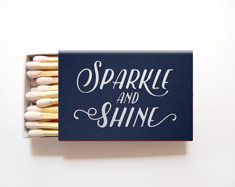 Matchbox Wedding Favors Sparkle and Shine Matchboxes - Foil Stamped Personalized Matches Rehearsal Dinner Bridal Shower Custom Colors
