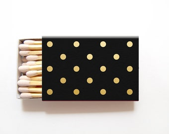 Polka Dot Empty Matchboxes Wedding Favors - Foil Stamped Personalized Matches Bridal Shower - International Shipping