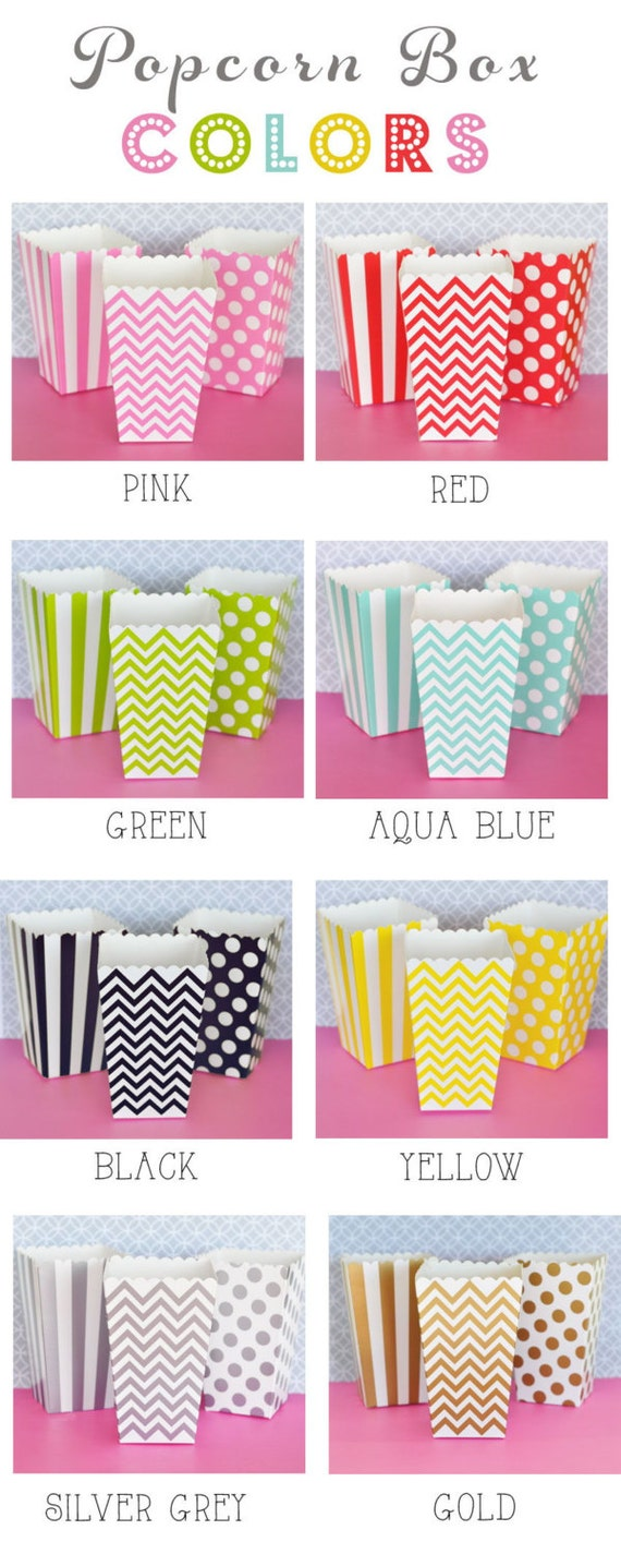 Popcorn Boxes 60 Set Stripe Polka Dot or Chevron Candy Bar | Etsy