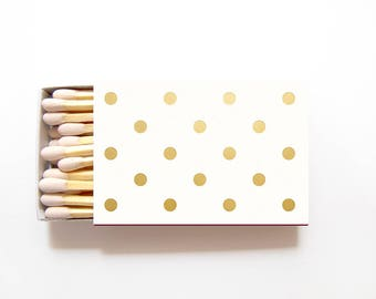 Polka Dot Matches Wedding Favors - Custom Foil Stamped Personalized Matchboxes Rehearsal Dinner Bridal Shower