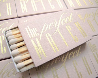 The Perfect Match Matchboxes 20 Set - Ready to Ship - Rose Gold Foil Stamped Wedding Favors Matches Rehearsal Dinner Bridal Shower