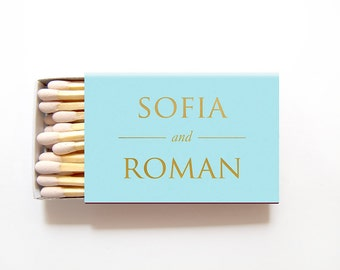 Personalized Matchboxes Wedding Favors Foil Stamped Matchbox Matches Custom Rehearsal Dinner Bridal Shower