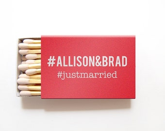 Matchbox Wedding Favors # Hashtag Matches - Personalized Foil Stamped Hashtags Custom Matchboxes Rehearsal Bridal Shower - Many Colors