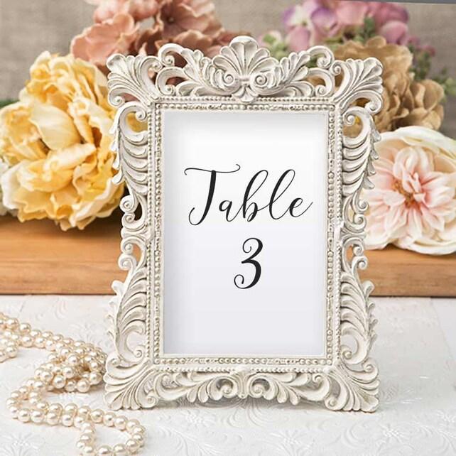 Ivory Table Number Frames Set of 3 Size 4 x 6 Gold Leaf | Etsy
