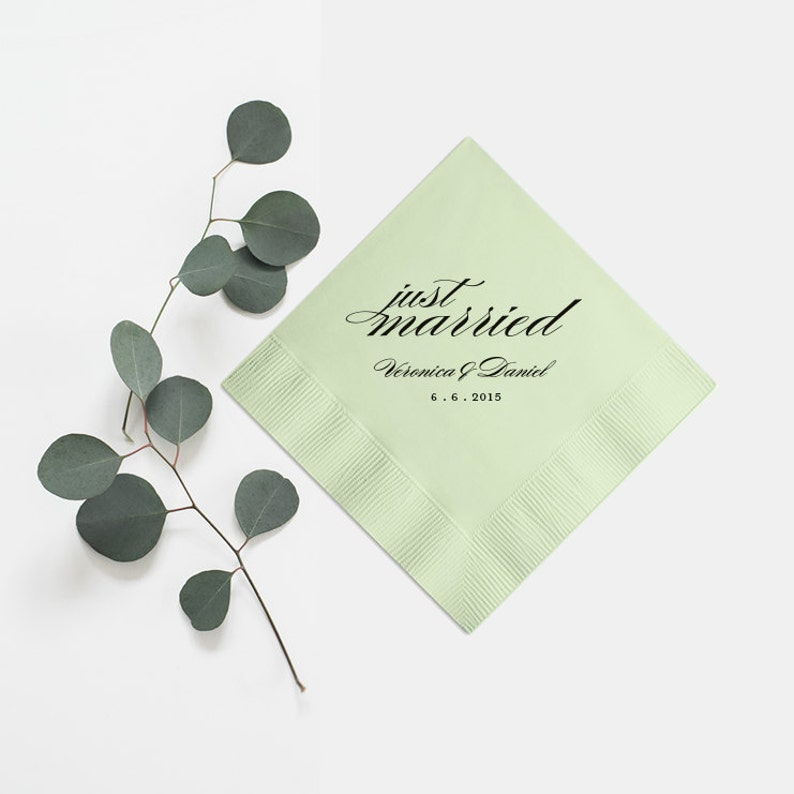 Foil Stamped Beverage Cocktail Personalized Napkin Party Favors Bridal Shower Rehearsal Custom Just Married Wedding Napkins