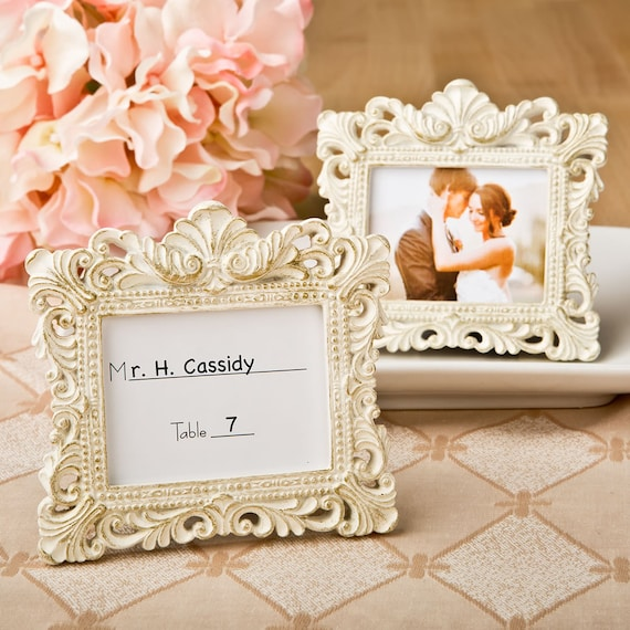 Wedding Favors Party Favor Bridal Shower Small Ivory and Gold Picture Frame for Escort Cards Place Card Holder Frames Set of 5