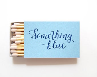 Something Blue Matchbox Wedding Favors - Custom Foil Stamped Matches Bridal Shower Gift Personalized Matchboxes Rehearsal Custom