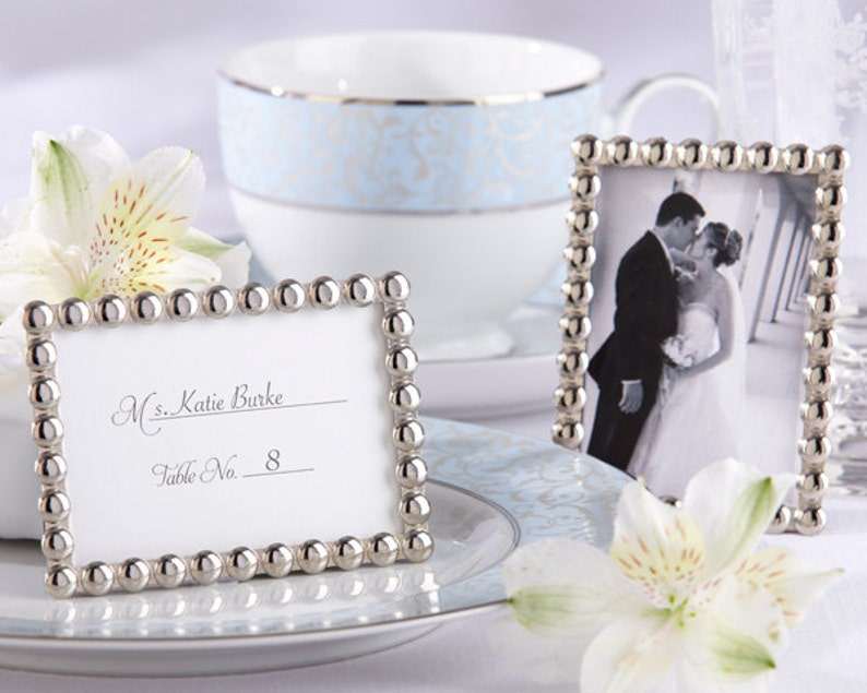 Pearls Mini Picture Frames Place Card Holders Escort Cards Holders Silver Frames 80 Set Wedding Favors Party Favors Bridal Shower