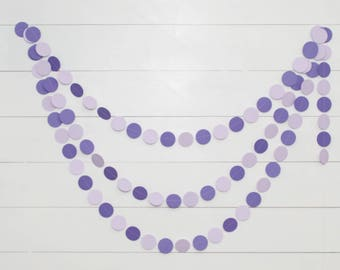 Purple Baby Shower Decoration - 14ft Paper Garland - Purple and Lavender