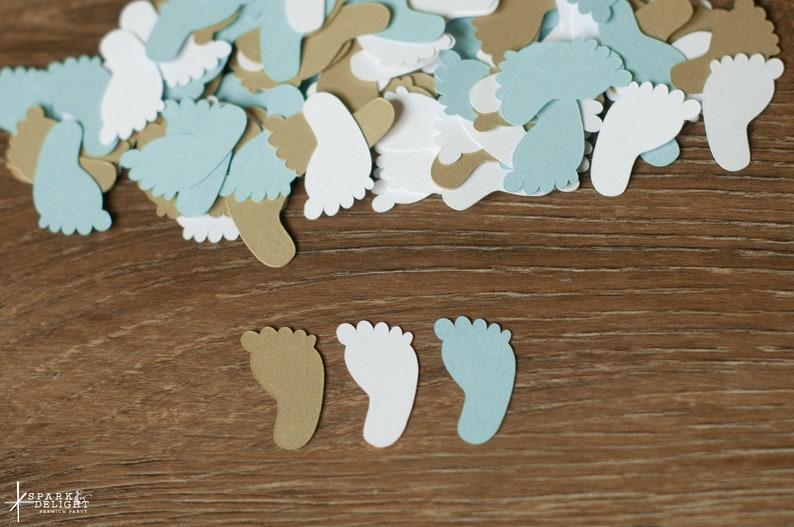 Light Blue and Gold Footprint Confetti  Footprint Baby Shower image 0