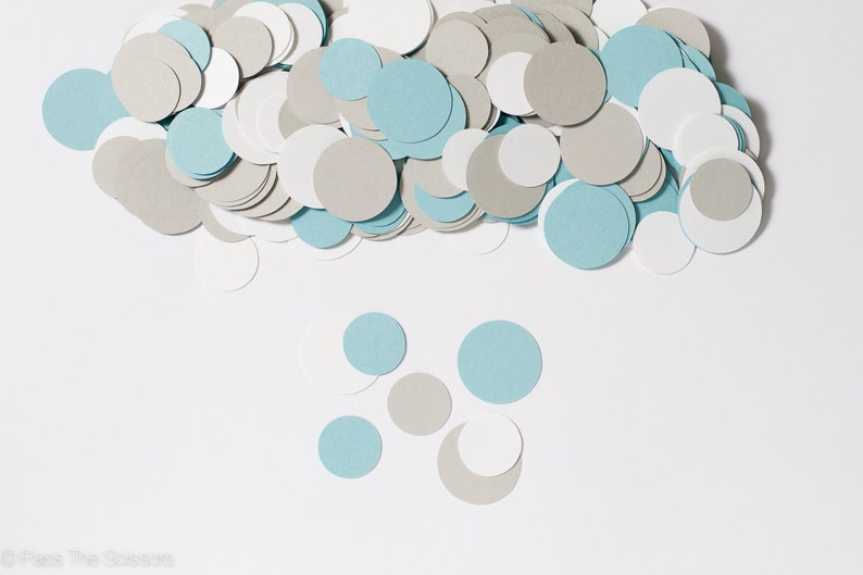 Circle Confetti  White Light Blue and Gray  Baby Shower image 0