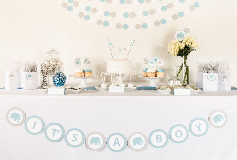 Baby Shower Bunting Elephant Baby Shower Banner Baby image 0