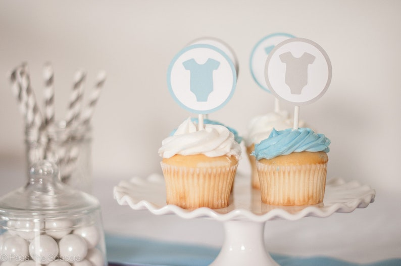 Baby Shower Cupcake Toppers  Set of 12 One Piece Baby image 0