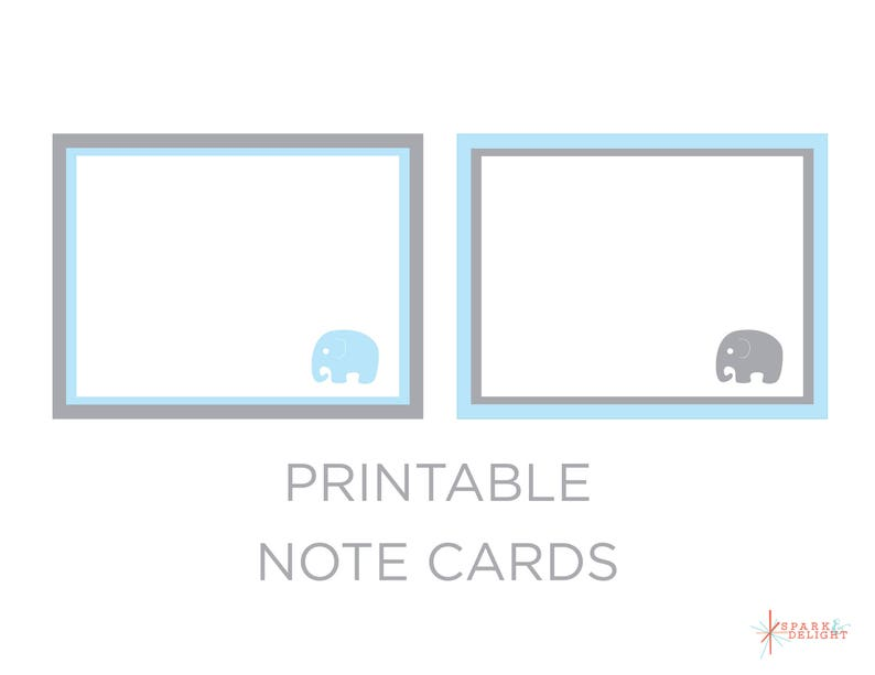 graphic regarding Printable Note Card known as Printable Be aware Playing cards - Elephant Kid Shower - Elephant Notice Playing cards - Elephant Birthday - Elephant Concept - Boy Child Shower - Be aware Playing cards
